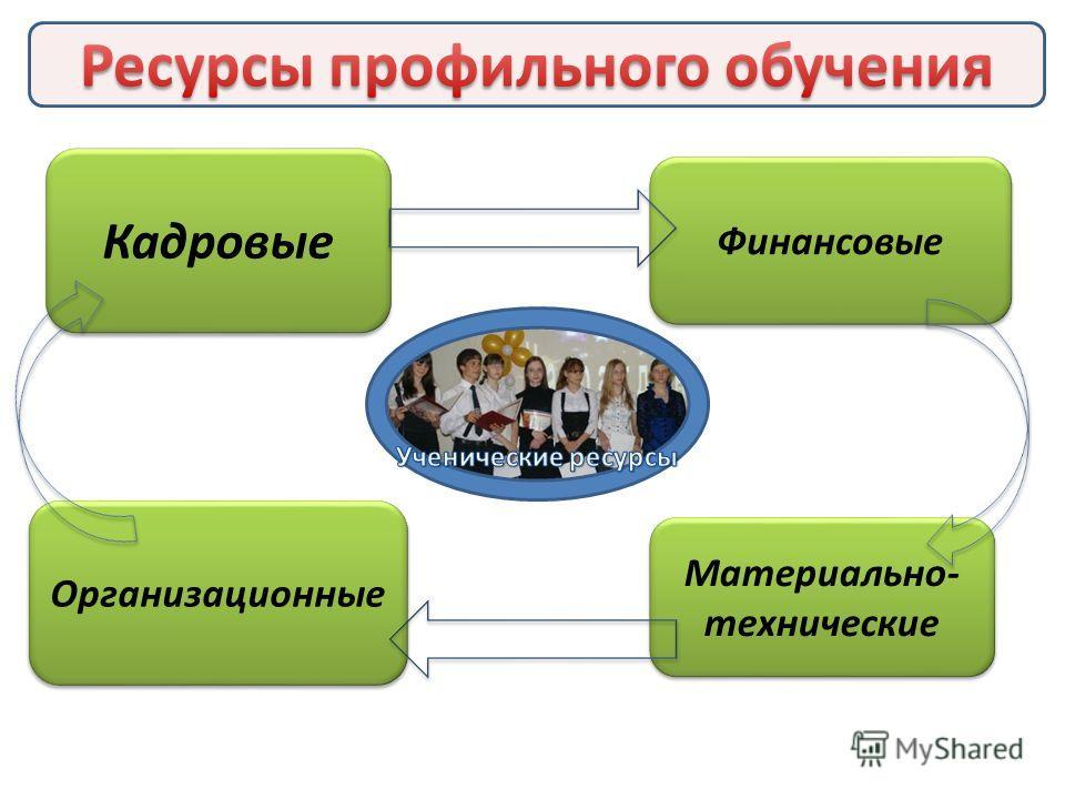 Кадровые Организационные Материально- технические Финансовые
