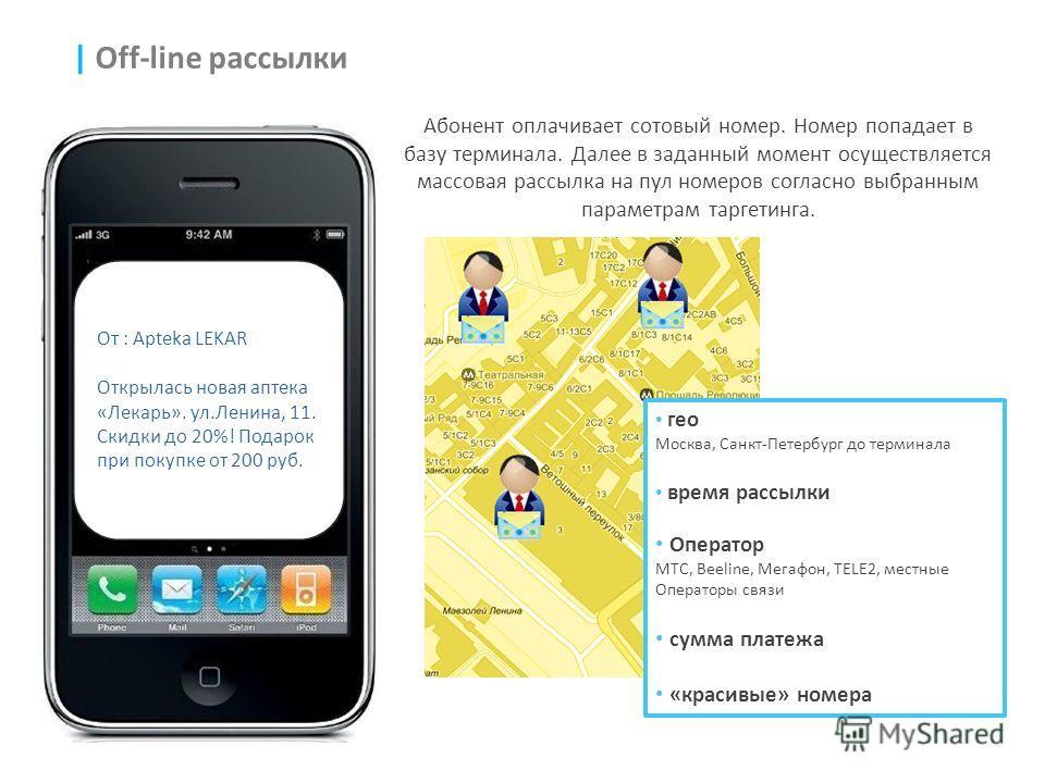 | Off-line рассылки Абонент оплачивает сотовый номер. Номер попадает в базу терминала. Далее в заданный момент осуществляется массовая рассылка на пул номеров согласно выбранным параметрам таргетинга. гео Москва, Санкт-Петербург до терминала время ра