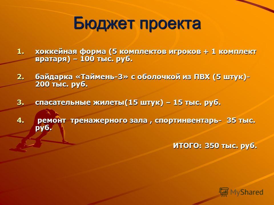 Бюджет проекта 1.хоккейная форма (5 комплектов игроков + 1 комплект вратаря) – 100 тыс. руб. 2.байдарка «Таймень-3» с оболочкой из ПВХ (5 штук)- 200 тыс. руб. 3.спасательные жилеты(15 штук) – 15 тыс. руб. 4. ремонт тренажерного зала, спортинвентарь-