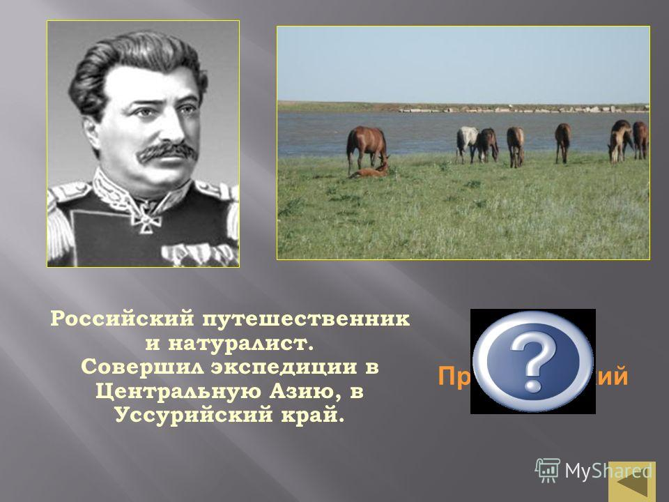 Николай Пржевальский Российский путешественник и натуралист. Совершил экспедиции в Центральную Азию, в Уссурийский край.