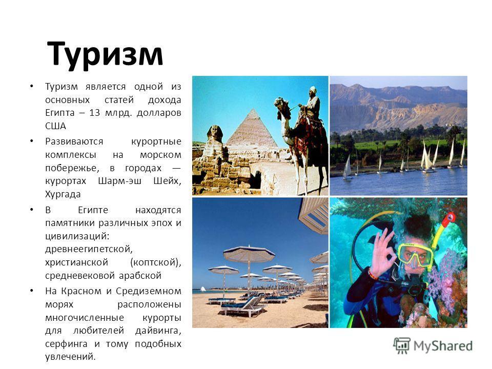 Туризм Туризм является одной из основных статей дохода Египта – 13 млрд. долларов США Развиваются курортные комплексы на морском побережье, в городах курортах Шарм-эш Шейх, Хургада В Египте находятся памятники различных эпох и цивилизаций: древнеегип
