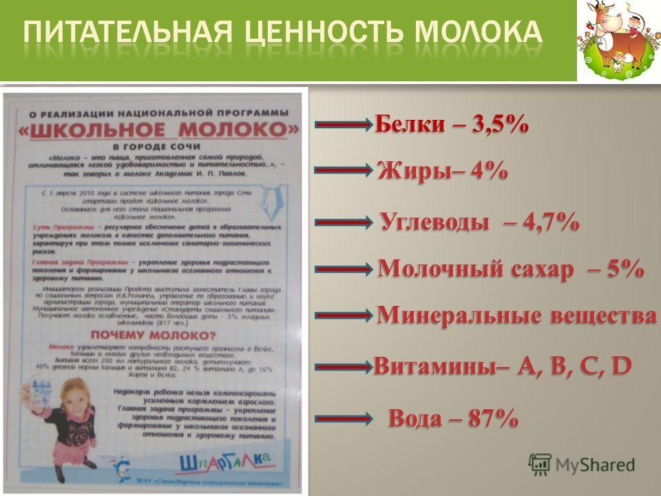 Белки – 3,5% Углеводы – 4,7% Молочный сахар – 5% Витамины – A, B, C, D Минеральные вещества Вода – 87% Жиры – 4%