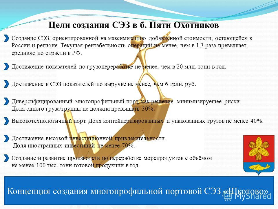 Концепция создания многопрофильной портовой СЭЗ «Шкотово» Цели создания СЭЗ в б. Пяти Охотников Создание СЭЗ, ориентированной на максимизацию добавленной стоимости, остающейся в России и регионе. Текущая рентабельность операций не менее, чем в 1,3 ра