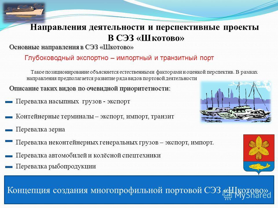 Концепция создания многопрофильной портовой СЭЗ «Шкотово» Направления деятельности и перспективные проекты В СЭЗ «Шкотово» Основные направления в СЭЗ «Шкотово» Глубоководный экспортно – импортный и транзитный порт Такое позиционирование объясняется е