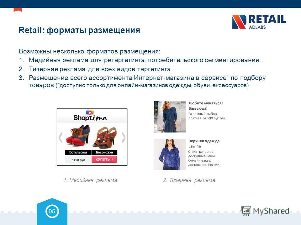Retail: форматы размещения Возможны несколько форматов размещения: 1.Медийная реклама для ретаргетинга, потребительского сегментирования 2.Тизерная реклама для всех видов таргетинга 3.Размещение всего ассортимента Интернет-магазина в сервисе* по подб