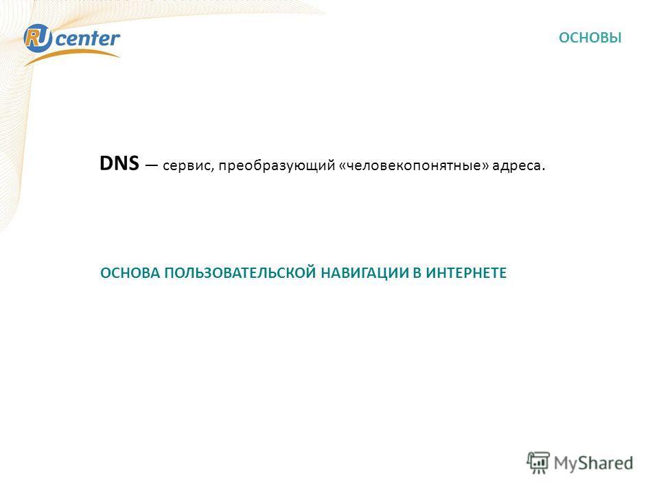 ОСНОВЫ DNS сервис, преобразующий «человекопонятные» адреса. ОСНОВА ПОЛЬЗОВАТЕЛЬСКОЙ НАВИГАЦИИ В ИНТЕРНЕТЕ