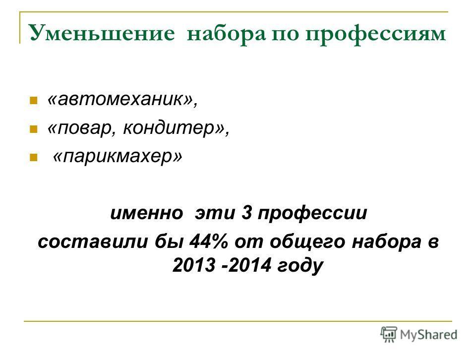 Уменьшение набора по профессиям «автомеханик», «повар, кондитер», «парикмахер» именно эти 3 профессии составили бы 44% от общего набора в 2013 -2014 году