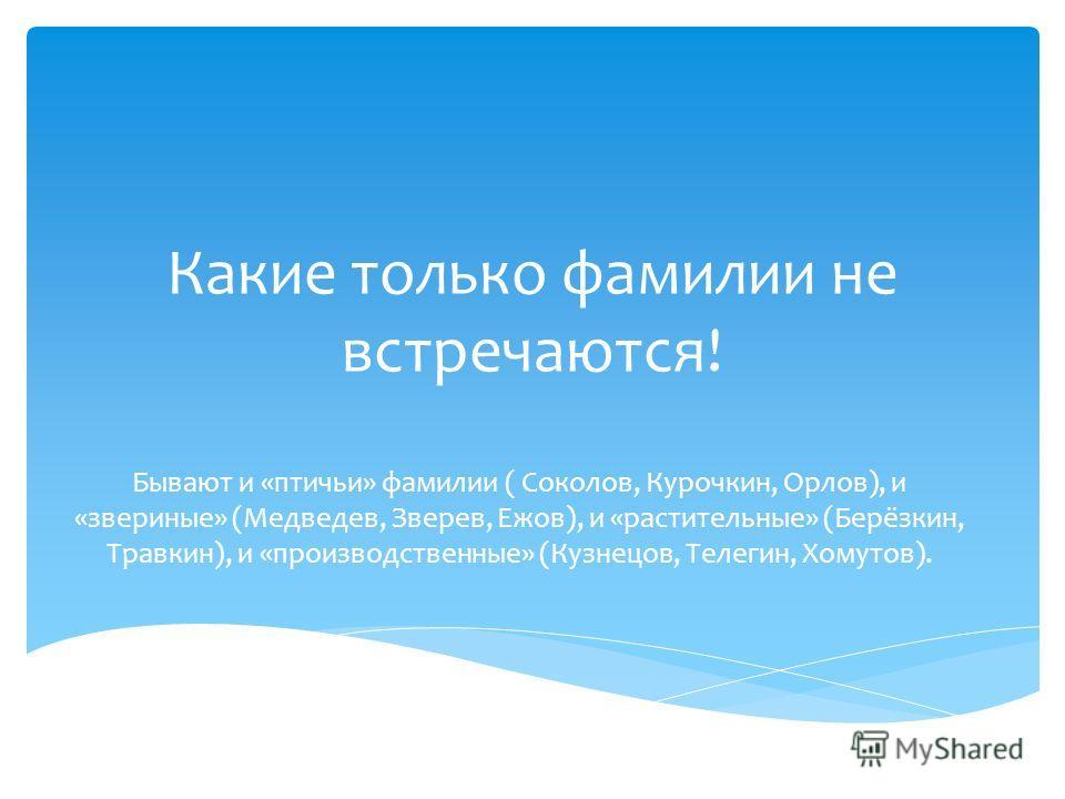 Какие только фамилии не встречаются! Бывают и «птичьи» фамилии ( Соколов, Курочкин, Орлов), и «звериные» (Медведев, Зверев, Ежов), и «растительные» (Берёзкин, Травкин), и «производственные» (Кузнецов, Телегин, Хомутов).