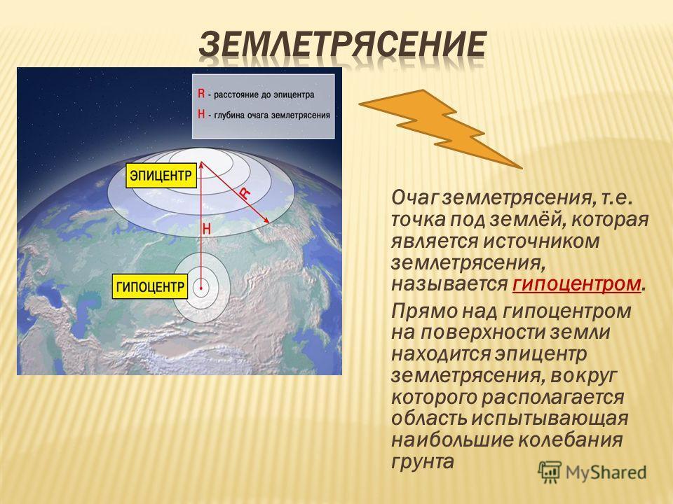 Очаг землетрясения, т.е. точка под землёй, которая является источником землетрясения, называется гипоцентром. Прямо над гипоцентром на поверхности земли находится эпицентр землетрясения, вокруг которого располагается область испытывающая наибольшие к