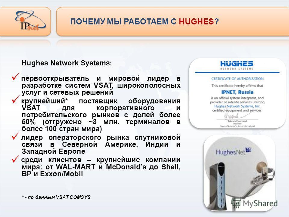 Hughes Network Systems : первооткрыватель и мировой лидер в разработке систем VSAT, широкополосных услуг и сетевых решений крупнейший* поставщик оборудования VSAT для корпоративного и потребительского рынков с долей более 50% (отгружено ~3 млн. терми