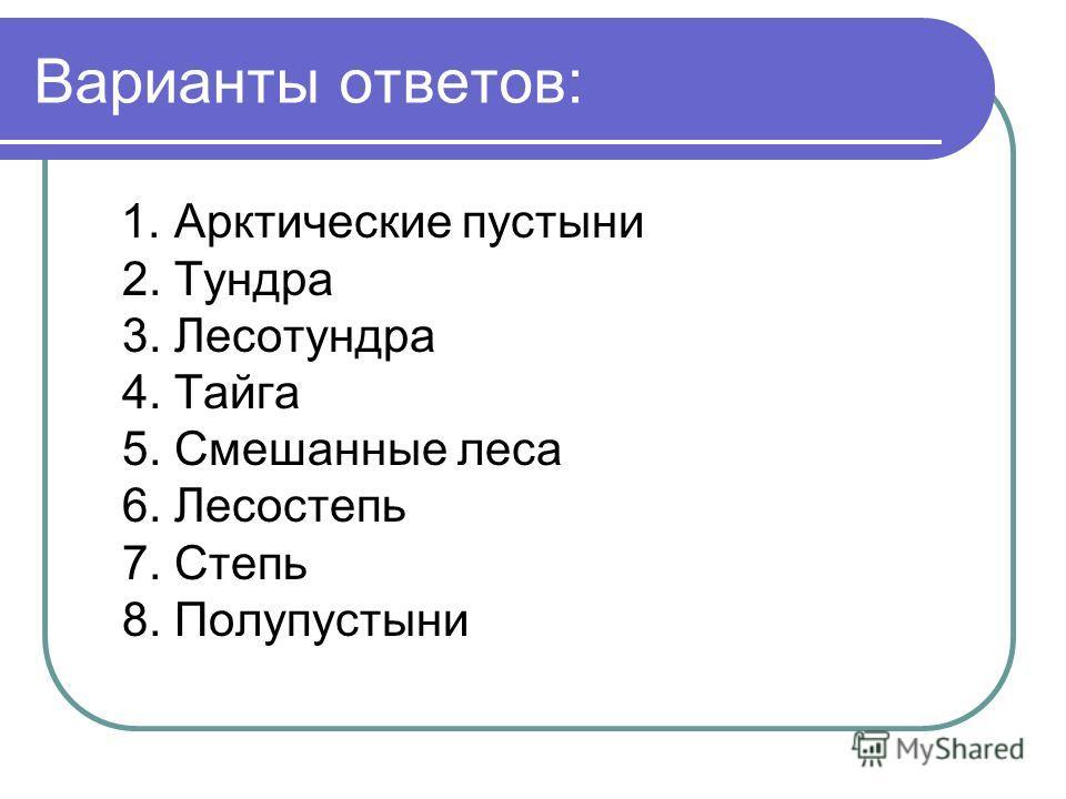 Варианты ответов: 1. Арктические пустыни 2. Тундра 3. Лесотундра 4. Тайга 5. Смешанные леса 6. Лесостепь 7. Степь 8. Полупустыни