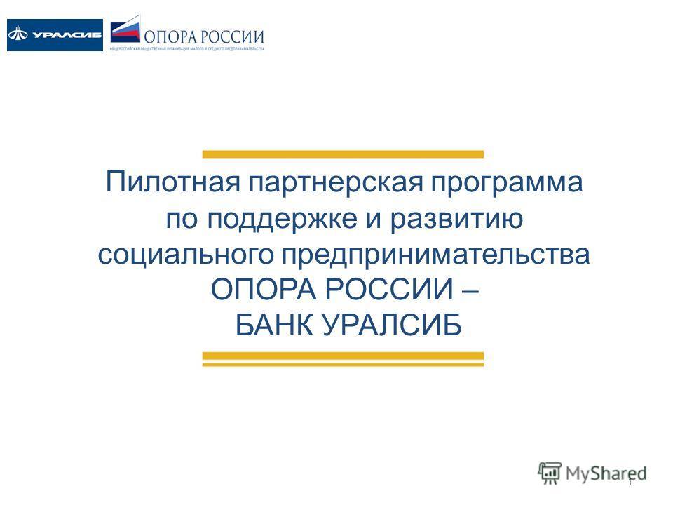 Пилотная партнерская программа по поддержке и развитию социального предпринимательства ОПОРА РОССИИ – БАНК УРАЛСИБ 1