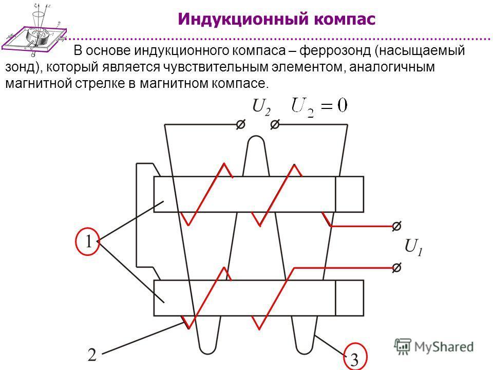В основе индукционного компаса – феррозонд (насыщаемый зонд), который является чувствительным элементом, аналогичным магнитной стрелке в магнитном компасе.