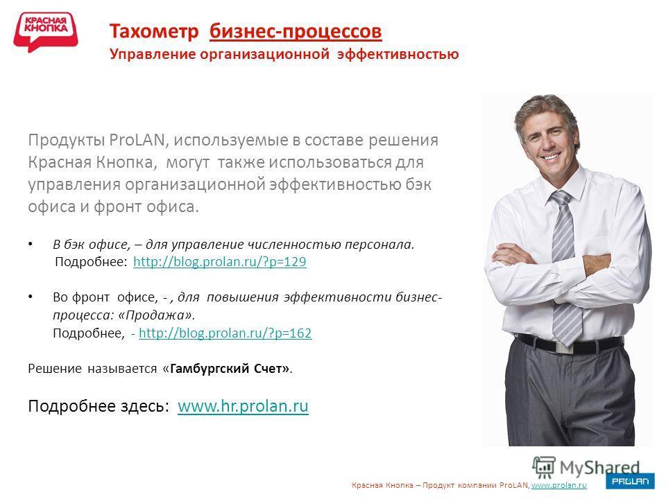 Красная Кнопка – Продукт компании ProLAN, www.prolan.ruwww.prolan.ru Тахометр бизнес-процессов Управление организационной эффективностью Продукты ProLAN, используемые в составе решения Красная Кнопка, могут также использоваться для управления организ