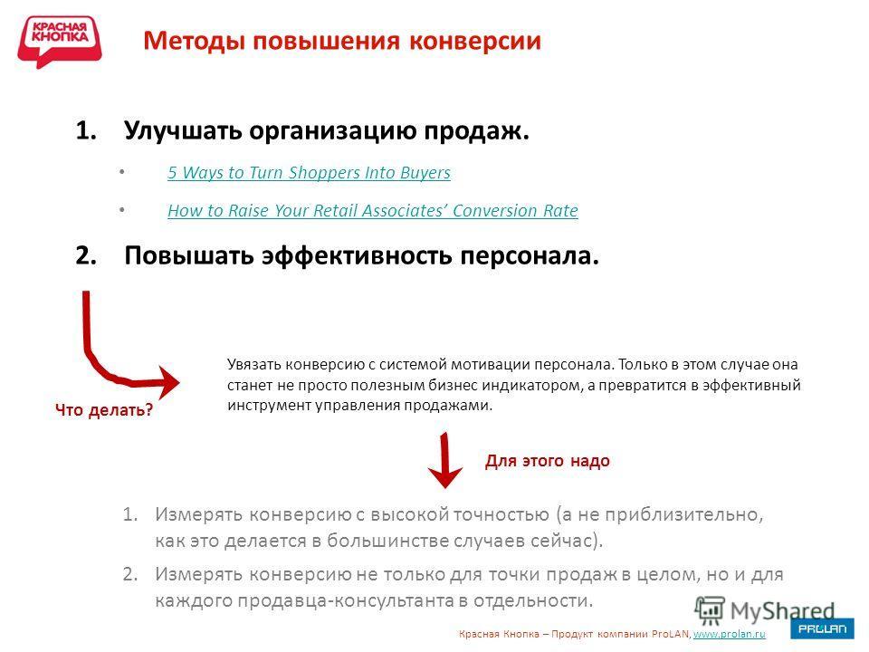 Красная Кнопка – Продукт компании ProLAN, www.prolan.ruwww.prolan.ru Методы повышения конверсии Увязать конверсию с системой мотивации персонала. Только в этом случае она станет не просто полезным бизнес индикатором, а превратится в эффективный инстр