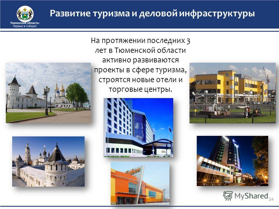 На протяжении последних 3 лет в Тюменской области активно развиваются проекты в сфере туризма, строятся новые отели и торговые центры. Развитие туризма и деловой инфраструктуры 24