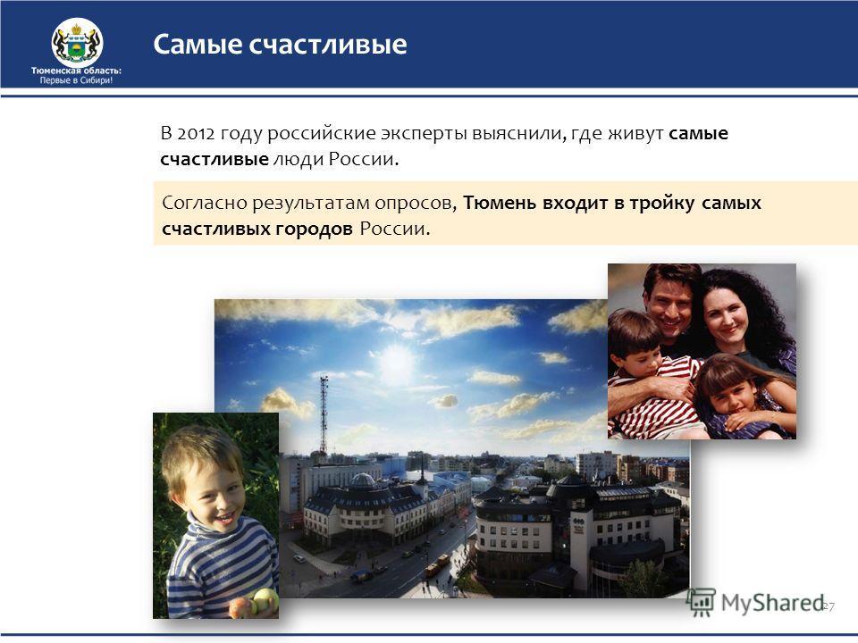 Самые счастливые Согласно результатам опросов, Тюмень входит в тройку самых счастливых городов России. 27 В 2012 году российские эксперты выяснили, где живут самые счастливые люди России.