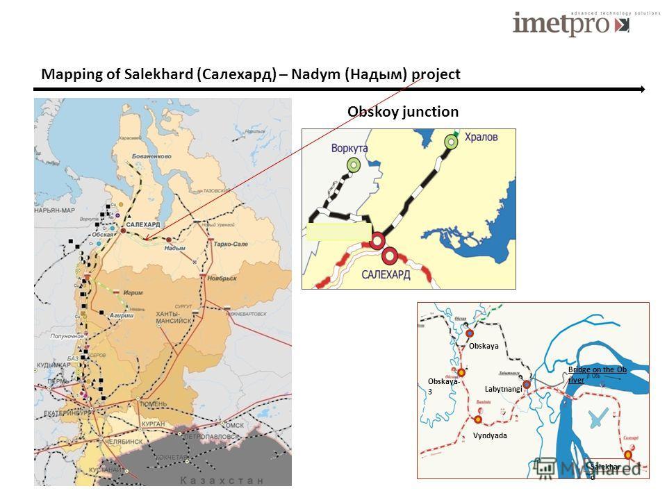 Mapping of Salekhard (Салехард) – Nadym (Надым) project Bridge on the Ob river Labytnangi Vyndyada Salekhar d Obskaya Obskaya- 3 Obskoy junction