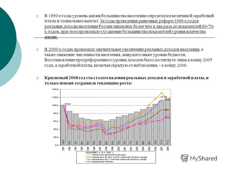 В 1990-е годы уровень жизни большинства населения определялся величиной заработной платы и социальных выплат. За годы проведения рыночных реформ 1990-х годов реальные доходы населения России снизились более чем в два раза до показателей 60-70- х годо