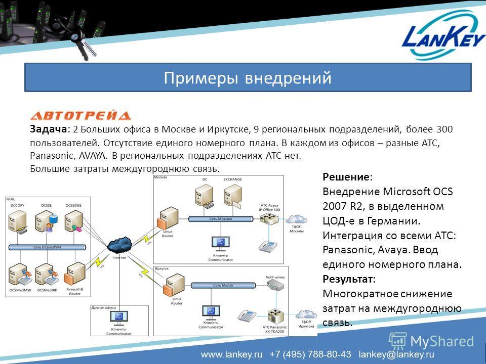Примеры внедрений Задача: 2 Больших офиса в Москве и Иркутске, 9 региональных подразделений, более 300 пользователей. Отсутствие единого номерного плана. В каждом из офисов – разные АТС, Panasonic, AVAYA. В региональных подразделениях АТС нет. Больши