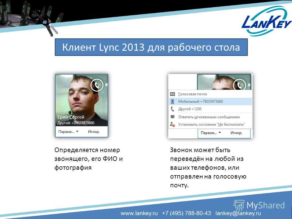 Определяется номер звонящего, его ФИО и фотография Звонок может быть переведён на любой из ваших телефонов, или отправлен на голосовую почту. Клиент Lync 2013 для рабочего стола