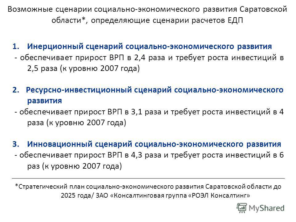 Возможные сценарии социально-экономического развития Саратовской области*, определяющие сценарии расчетов ЕДП 1.Инерционный сценарий социально-экономического развития - обеспечивает прирост ВРП в 2,4 раза и требует роста инвестиций в 2,5 раза (к уров