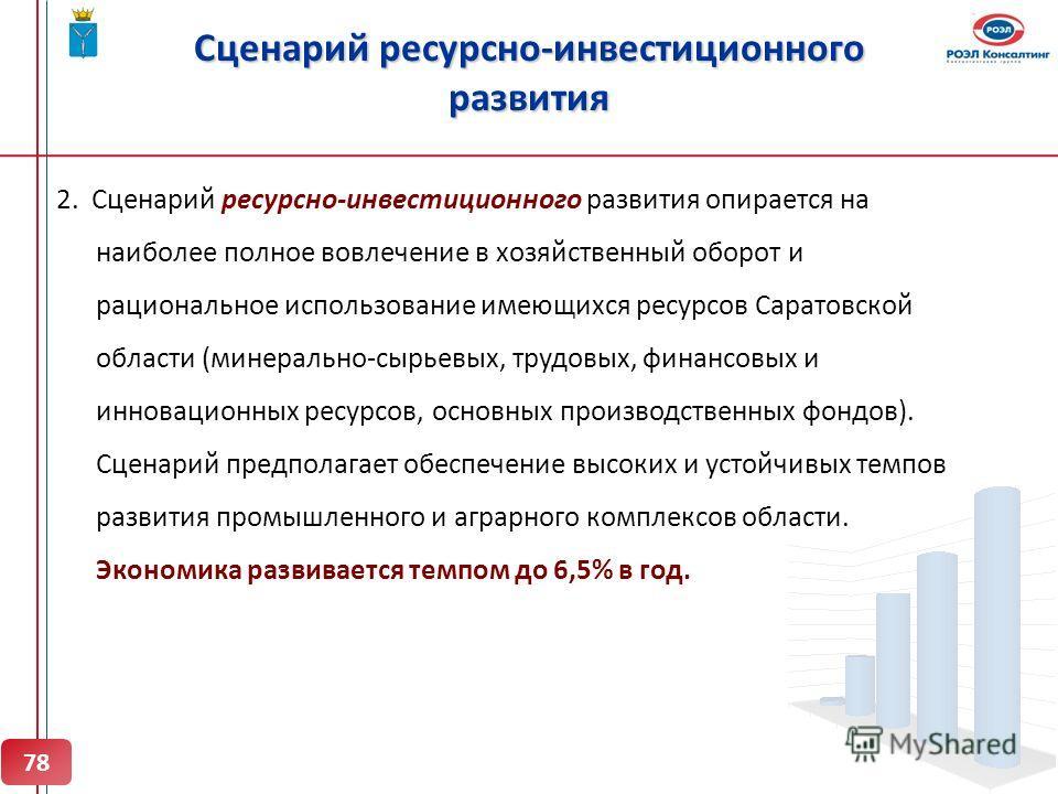 Сценарий ресурсно-инвестиционного развития 2. Сценарий ресурсно-инвестиционного развития опирается на наиболее полное вовлечение в хозяйственный оборот и рациональное использование имеющихся ресурсов Саратовской области (минерально-сырьевых, трудовых