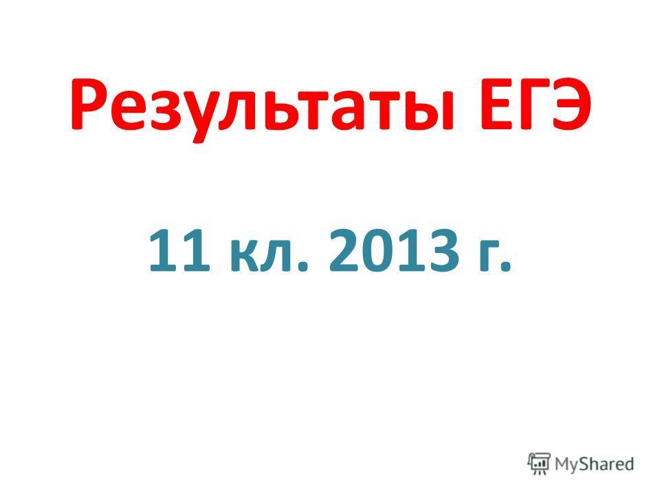 Результаты ЕГЭ 11 кл. 2013 г.