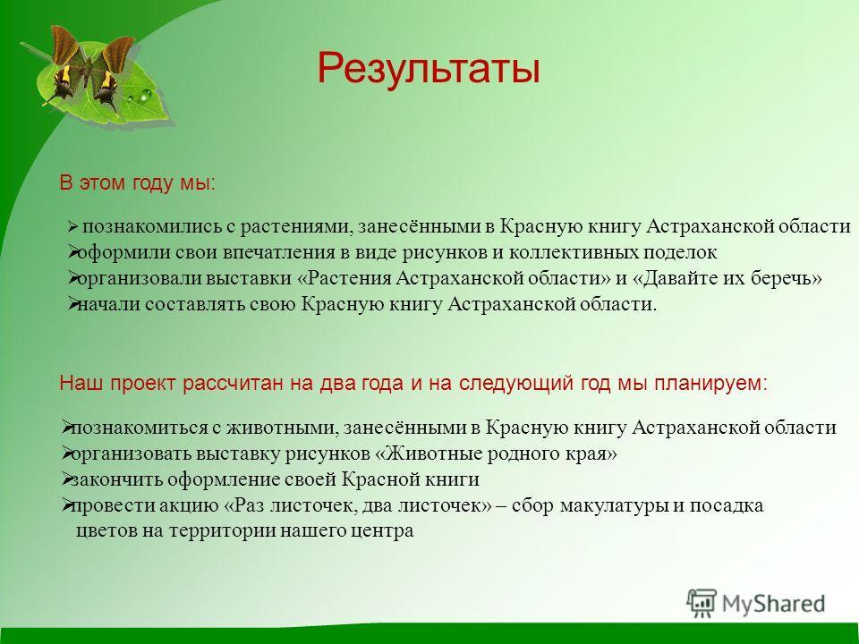 Результаты В этом году мы: познакомились с растениями, занесёнными в Красную книгу Астраханской области оформили свои впечатления в виде рисунков и коллективных поделок организовали выставки «Растения Астраханской области» и «Давайте их беречь» начал