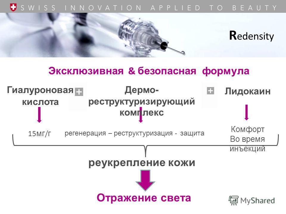 Эксклюзивная & безопасная формула 15 мг / г реукрепление кожи Комфорт Во время инъекций R edensity Отражение света Гиалуроновая кислота Лидокаин Дермо- реструктуризирующий комплекс регенерация – реструктуризация - защита