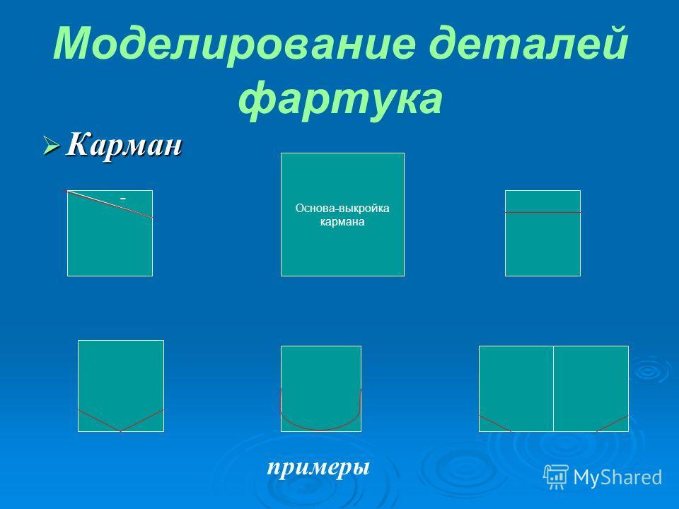 Моделирование деталей фартука Карман Карман Основа-выкройка кармана - примеры