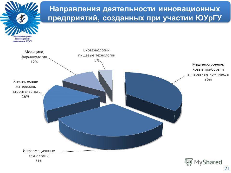 Направления деятельности инновационных предприятий, созданных при участии ЮУрГУ 21