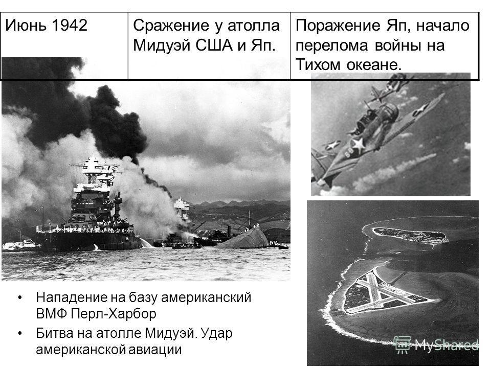Нападение на базу американский ВМФ Перл-Харбор Битва на атолле Мидуэй. Удар американской авиации Июнь 1942Сражение у атолла Мидуэй США и Яп. Поражение Яп, начало перелома войны на Тихом океане.