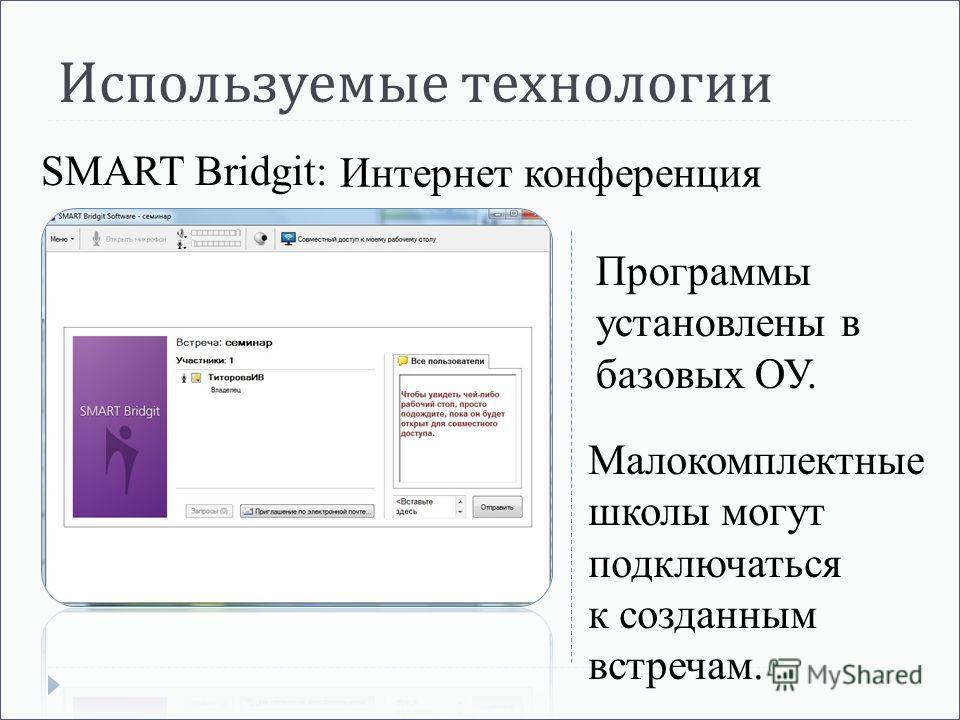 Используемые технологии Интернет конференция SMART Bridgit: Программы установлены в базовых ОУ. Малокомплектные школы могут подключаться к созданным встречам.