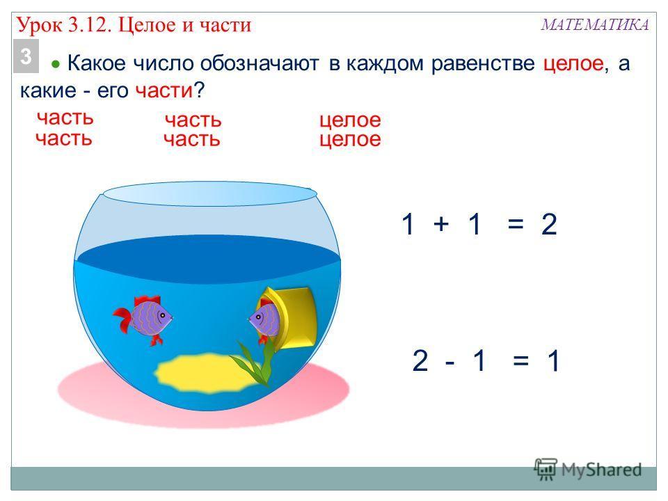 МАТЕМАТИКА 1 + 1 2 - 1 = 1 = 2 Какое число обозначают в каждом равенстве целое, а какие - его части? 3 Урок 3.12. Целое и части
