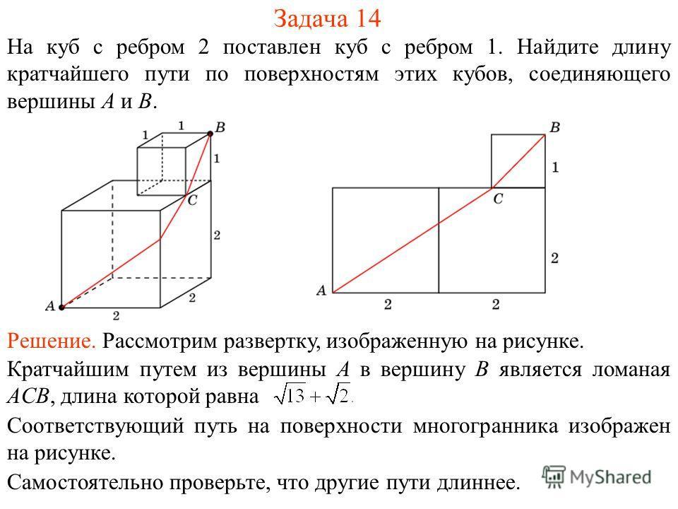 Задача 14 На куб с ребром 2 поставлен куб с ребром 1. Найдите длину кратчайшего пути по поверхностям этих кубов, соединяющего вершины A и B. Решение. Рассмотрим развертку, изображенную на рисунке. Соответствующий путь на поверхности многогранника изо