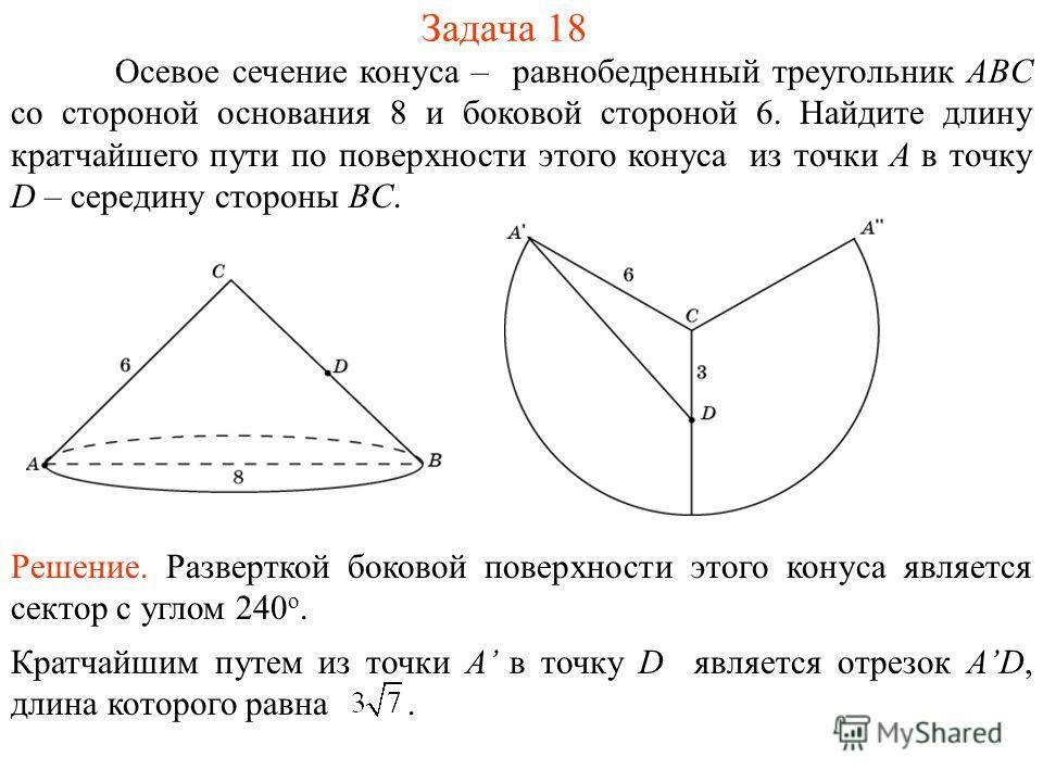 Задача 18 Осевое сечение конуса – равнобедренный треугольник ABC со стороной основания 8 и боковой стороной 6. Найдите длину кратчайшего пути по поверхности этого конуса из точки A в точку D – середину стороны BC. Решение. Разверткой боковой поверхно