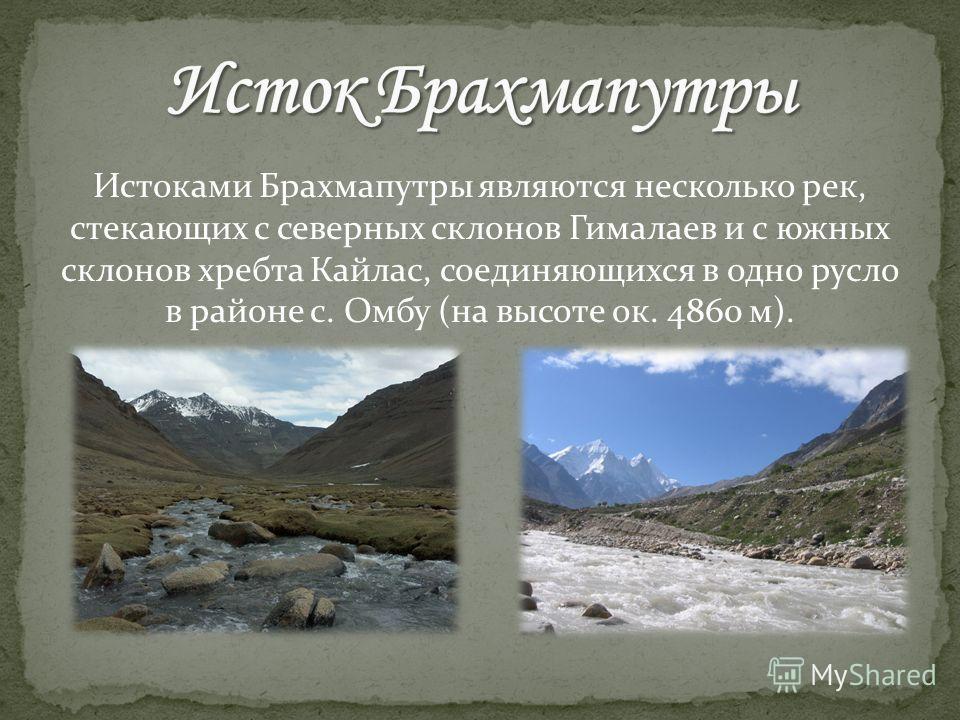 Истоками Брахмапутры являются несколько рек, стекающих с северных склонов Гималаев и с южных склонов хребта Кайлас, соединяющихся в одно русло в районе с. Омбу (на высоте ок. 4860 м).