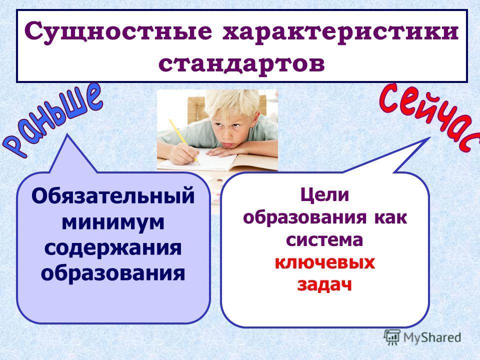 Сущностные характеристики стандартов «Знаниевая» парадигма образования Репродукция Деятельностная парадигма образования Развитие личности Обязательный минимум содержания образования Цели образования как система ключевых задач