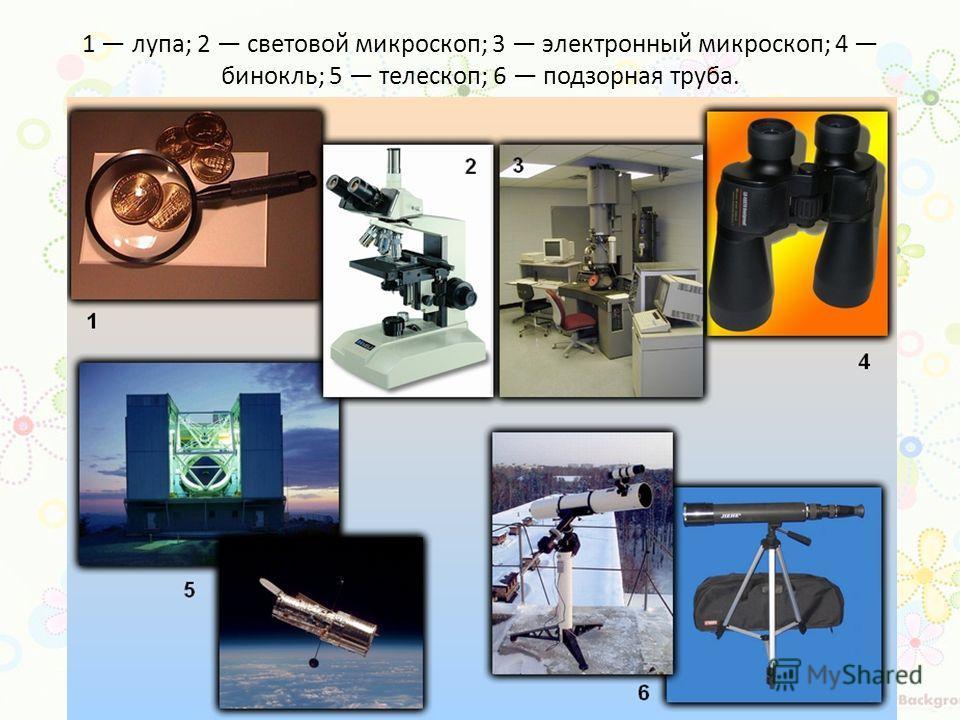 1 лупа; 2 световой микроскоп; 3 электронный микроскоп; 4 бинокль; 5 телескоп; 6 подзорная труба.