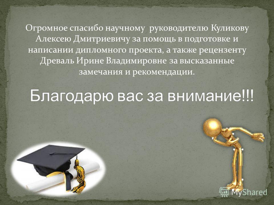 Огромное спасибо научному руководителю Куликову Алексею Дмитриевичу за помощь в подготовке и написании дипломного проекта, а также рецензенту Древаль Ирине Владимировне за высказанные замечания и рекомендации.