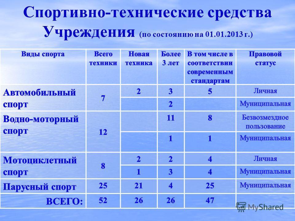 Спортивно-технические средства Учреждения (по состоянию на 01.01.2013 г.)