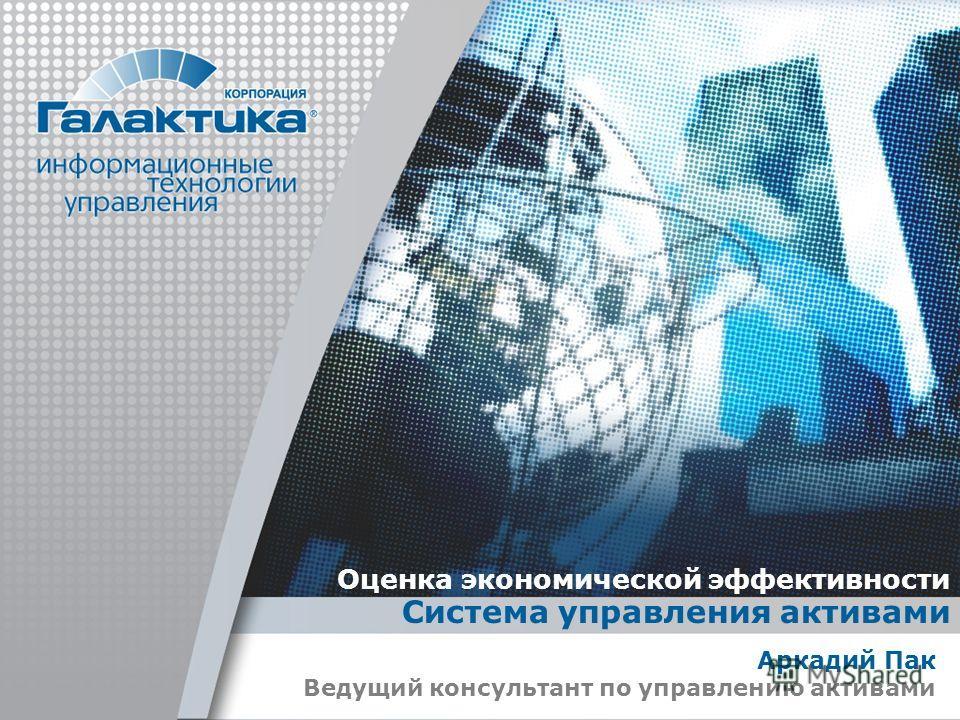 Оценка экономической эффективности Система управления активами Аркадий Пак Ведущий консультант по управлению активами