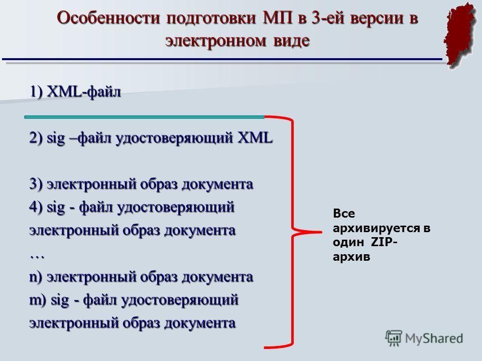 1) XML-файл 2) sig –файл удостоверяющий XML 3) электронный образ документа 4) sig - файл удостоверяющий электронный образ документа … n) электронный образ документа m) sig - файл удостоверяющий электронный образ документа Особенности подготовки МП в