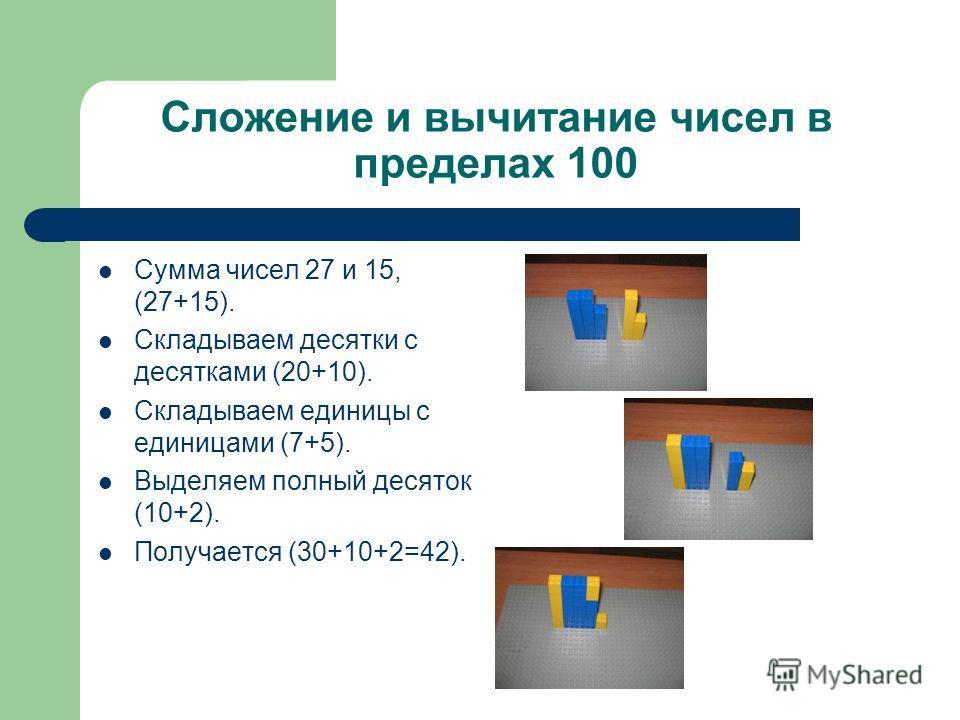Сложение и вычитание чисел в пределах 100 Сумма чисел 27 и 15, (27+15). Складываем десятки с десятками (20+10). Складываем единицы с единицами (7+5). Выделяем полный десяток (10+2). Получается (30+10+2=42).