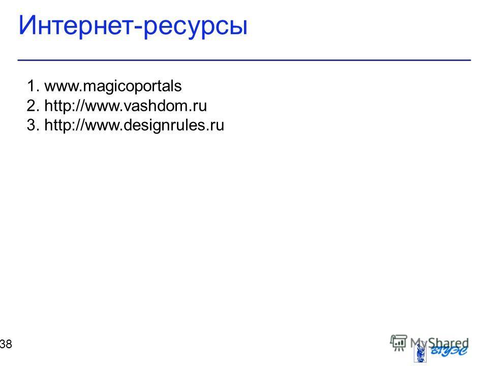 Интернет-ресурсы 38 1. www.magicoportals 2. http://www.vashdom.ru 3. http://www.designrules.ru