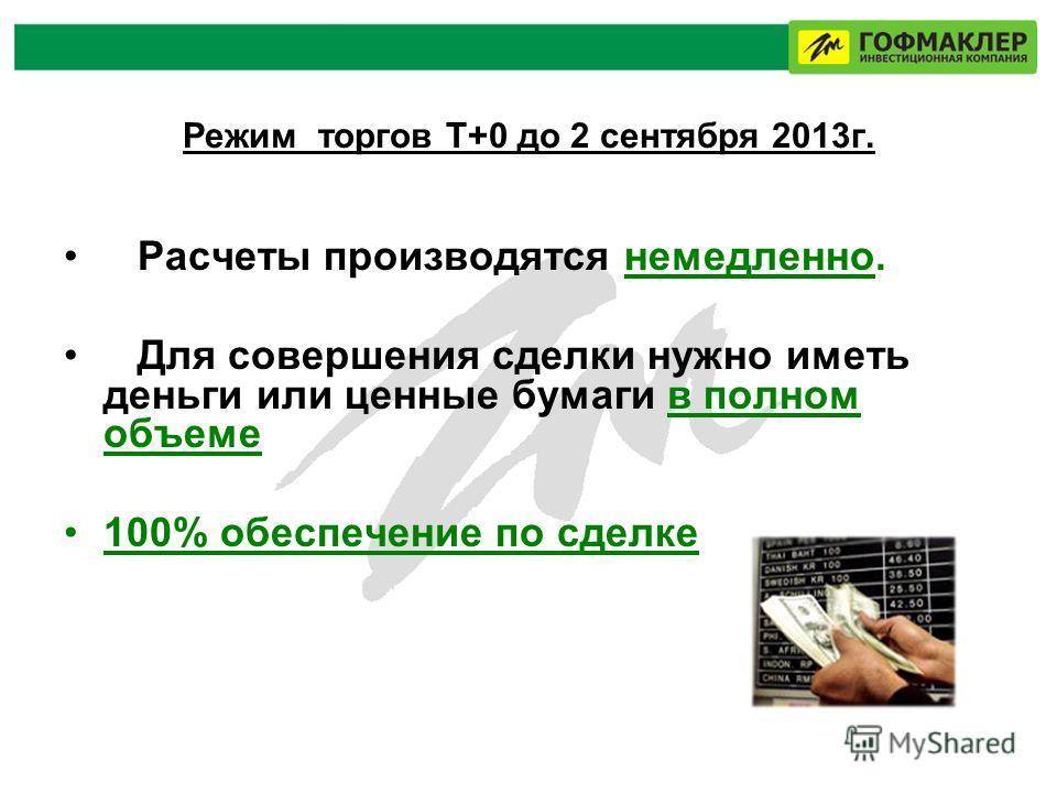 Режим торгов Т+0 до 2 сентября 2013г. Расчеты производятся немедленно. Для совершения сделки нужно иметь деньги или ценные бумаги в полном объеме 100% обеспечение по сделке