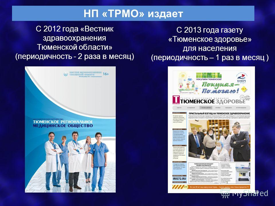 С 2012 года «Вестник здравоохранения Тюменской области» (периодичность - 2 раза в месяц) 18 С 2013 года газету «Тюменское здоровье» для населения (периодичность – 1 раз в месяц ) НП «ТРМО» издает