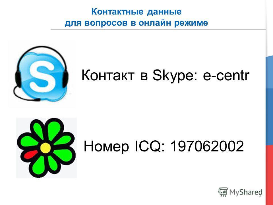 2 Контактные данные для вопросов в онлайн режиме Номер ICQ: 197062002 Контакт в Skype: e-centr