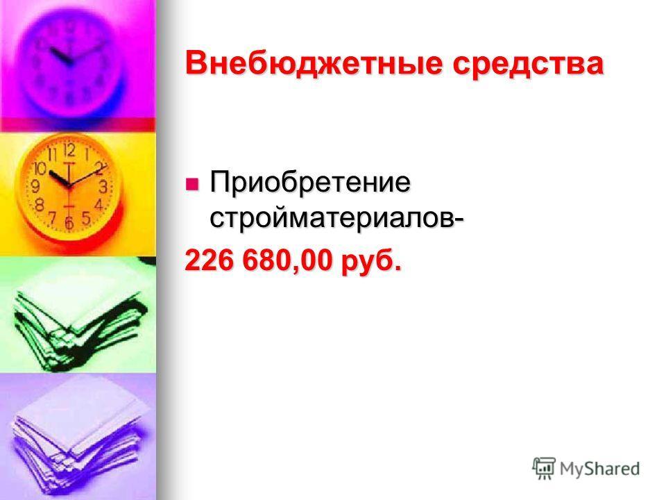 Внебюджетные средства Приобретение стройматериалов- Приобретение стройматериалов- 226 680,00 руб.